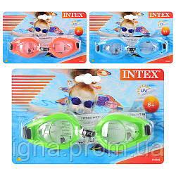 Окуляри для плавання 55602 (12шт) 3 кольори, від 8лет, регульований ремінець, на аркуші, 19,5-12,5-3,5 см