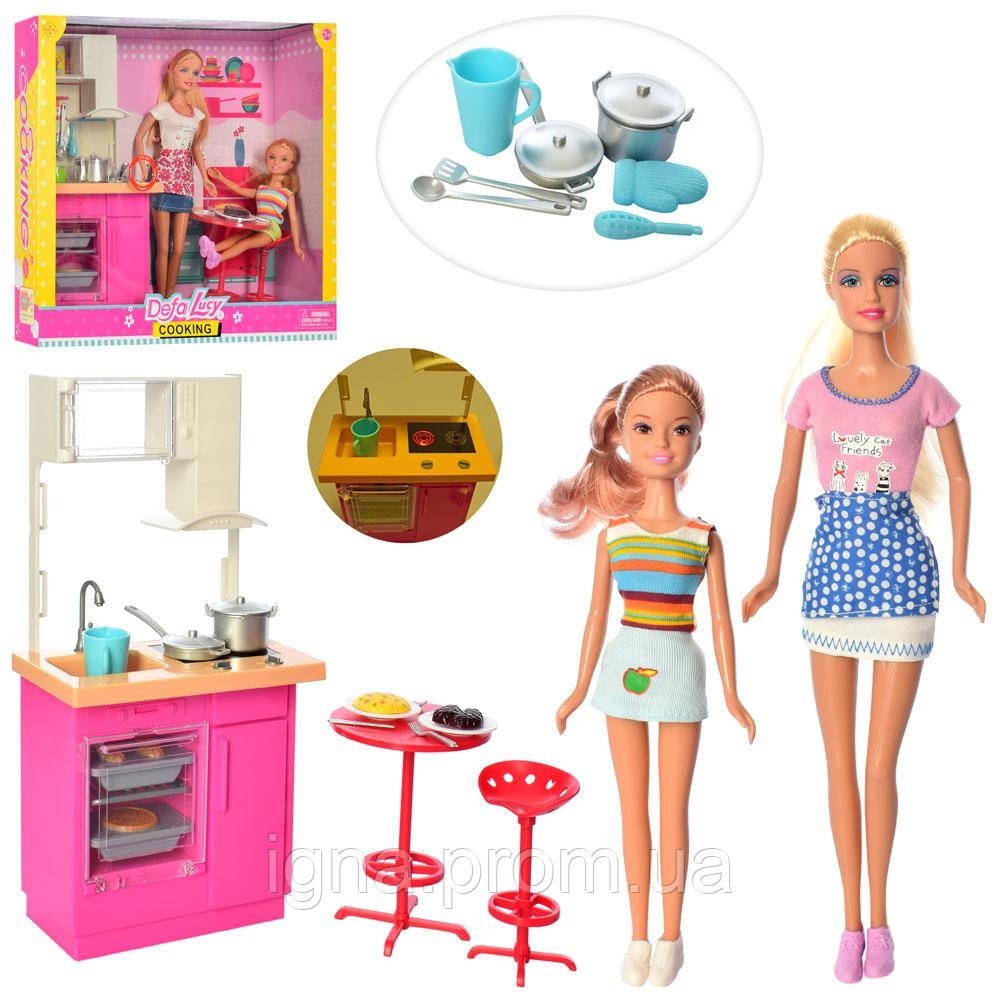 Кукла DEFA 8442-BF (10шт) 29,5см,дочка22см, кухня31-14см,посуда,св,2в, бат-таб,в кор,36,5-31,5-9,5см