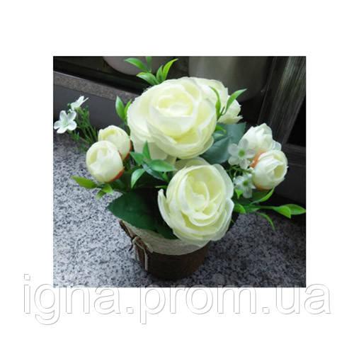 Декор T15-14 (75шт) цветы, розы, 17см, в горшке, 3 цвета, в кор-ке, 10,5-22-10,5см