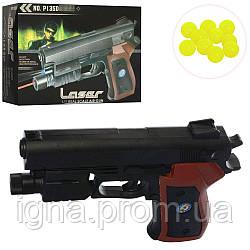 Пистолет 135D (72шт) на пульках, 16см, лазер, свет, на бат(табл), в кор-ке, 17,5-12,5-3,5ссм