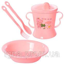 Посуд дитячий пластик 4пр/наб (тарілка, чашка-поїлка, виделка, ложка) 15*13см R83617 (120наб)