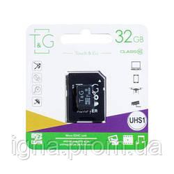 Карта Памяти T&G MicroSDHC 32gb 10 Class & Adapter (Чёрный)