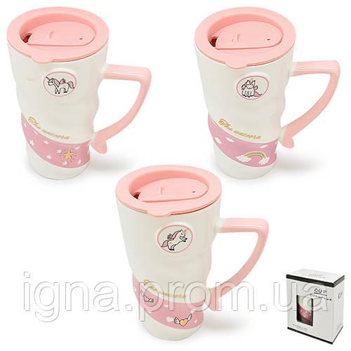 """Чашка з кришкою """"Pink Unicorn"""" 500мл TL00007"""