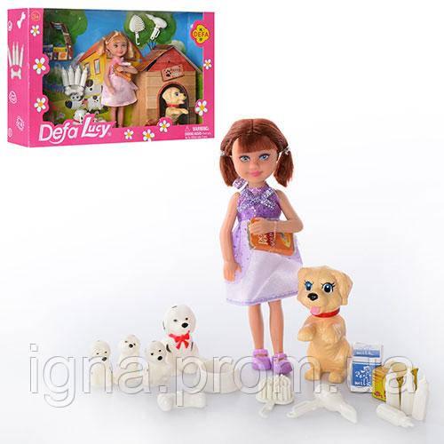 Кукла DEFA 8281 (24шт) 13см,собачки2шт,щенки 3шт,тарелка,бутылочки,косточ,2вид,в кор-ке, 27,5-17-6см