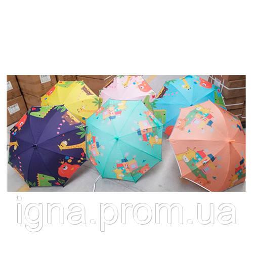 Зонтик детский MK 4483 (30шт) длина74,трость67,диам82см,спица51см,светоотраж.лента,2вид/6цв,в кульке