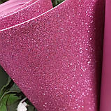 Фоамиран глиттерный розовый 2 мм рулонный, фото 3