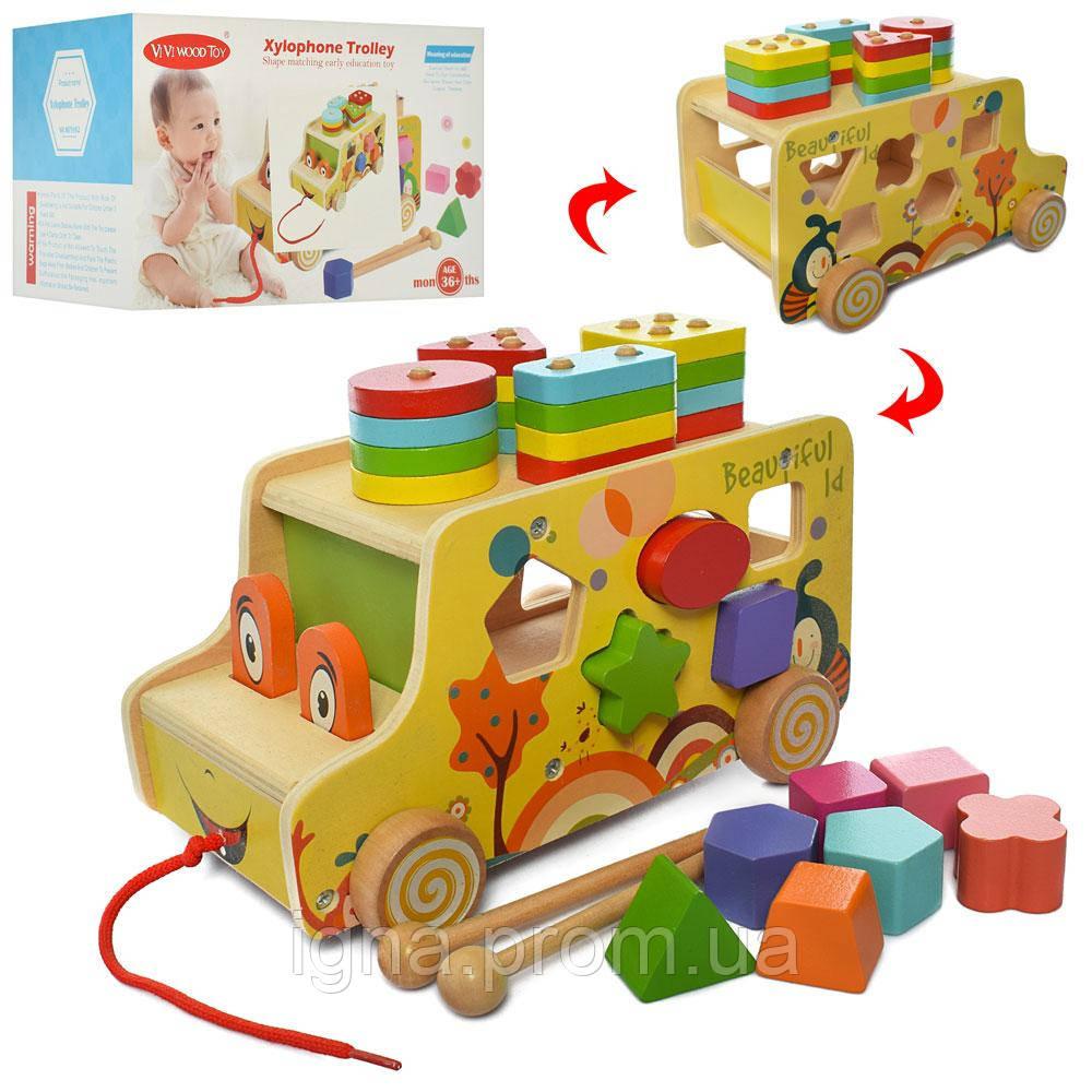 Деревянная игрушка Центр развивающий ww-170 (24шт) 23см,каталка,сортер,геометрика.в кор,28,5-18-18см