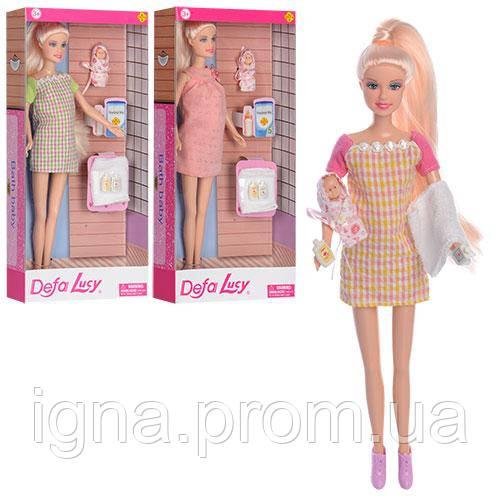 Кукла DEFA 8357 (24шт) беременная, 30см, пупс 5см, аксессуары, 3 вида, в кор-ке, 15-32-5,5см