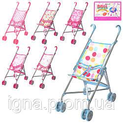 Коляска 9302 W (12шт) для куклы,жел,двойные колеса,поворот,55-49-26см,выс.до руч53см,5в,15-73-10см