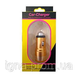 Автомобильная зарядка АЗУ 2 USB Металл YZS-01 Gold
