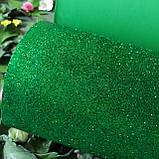 Фоамиран глиттерный зеленый 2 мм рулонный, фото 5