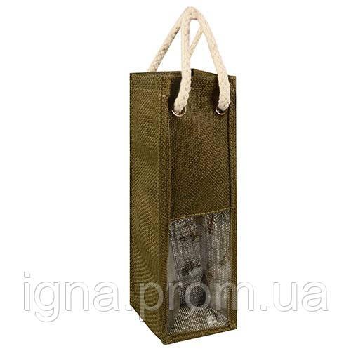 "Пакет подарочный бумажный из мешковины под бутылку ""Виноград"" 12шт/пак 10шт/уп 10*38*9см R15858 (200"