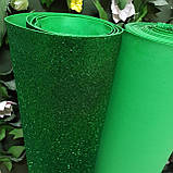 Фоамиран глиттерный зеленый 2 мм рулонный, фото 3