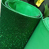 Фоамиран глиттерный зеленый 2 мм рулонный, фото 4