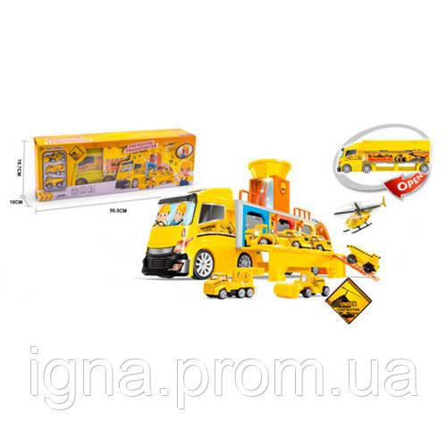 Гараж ZH-618 (12шт) стройтех,трейлер-контейнер42см, трансп3шт,7см,муз,св,бат-таб,в кор, 56-19-10см