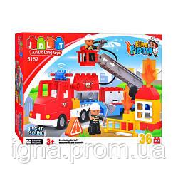 Конструктор JDLT 5152 (12шт) Пожежна машина, 36 дет, звук, світло, в кор-ке, 45-29-9см