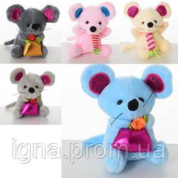 Мягкая игрушка MK 3893 (150шт) мышь (мягкая), присоска, 10см, 5видов