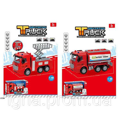 Пожарная машина 999-2-3 (48шт) инер-я, 18см, 1:40, 2вида(вышка, цистерна), в кор-ке, 22,5-13,5-9см
