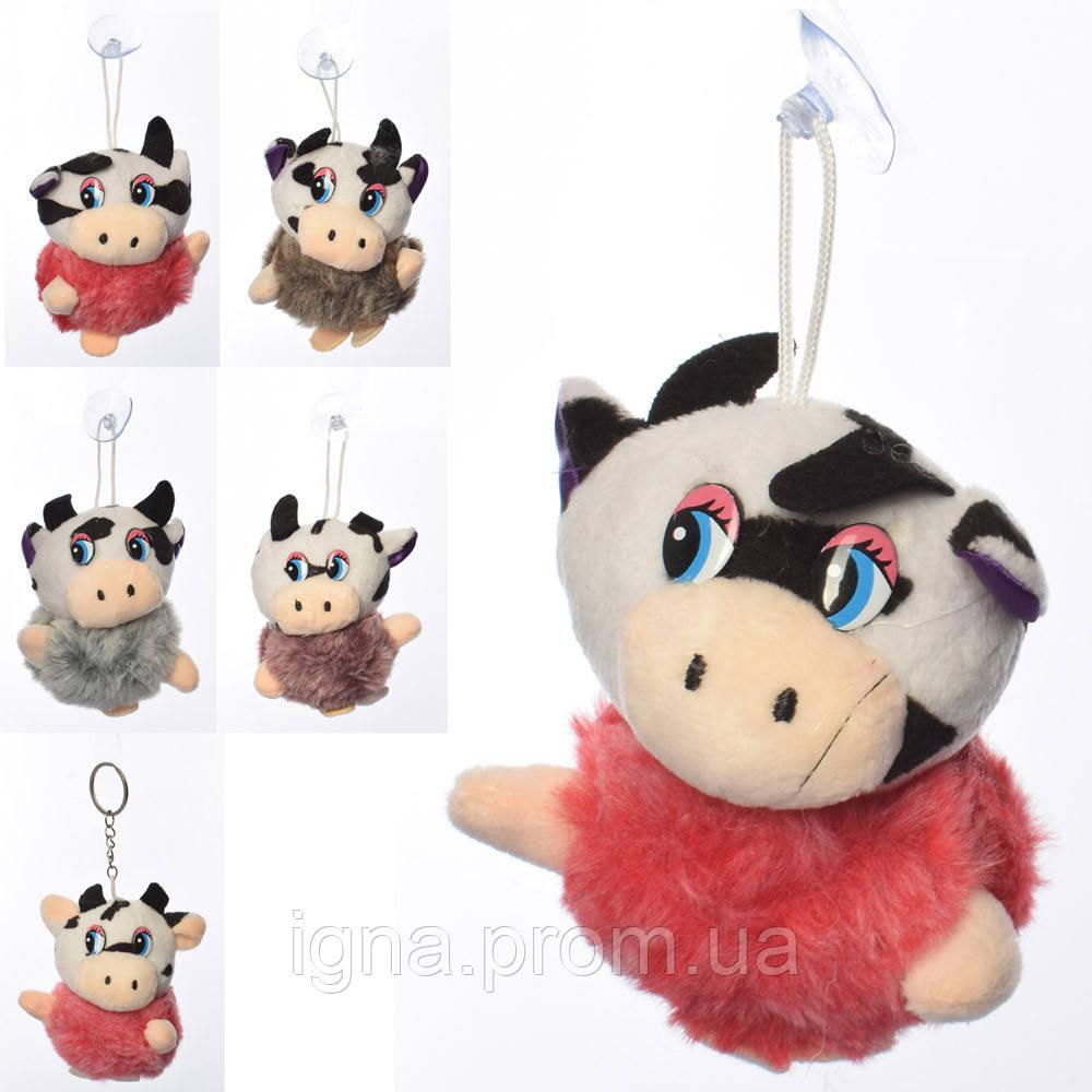 Мягкая игрушка MP 2155 (200шт) корова 9см, на присоске 14см, микс цветов, в кульке, 9-9-6см