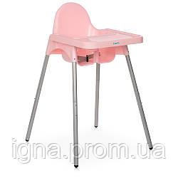 Стільчик M 4209 Pink (1шт) для годування, пластик, рожевий