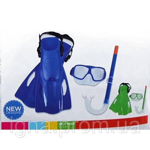 BW Набор для плавания 25019 (6шт) ласты,маска,трубка,2 цв(синий,зел),7-14лет,в слюде,47-22-13см