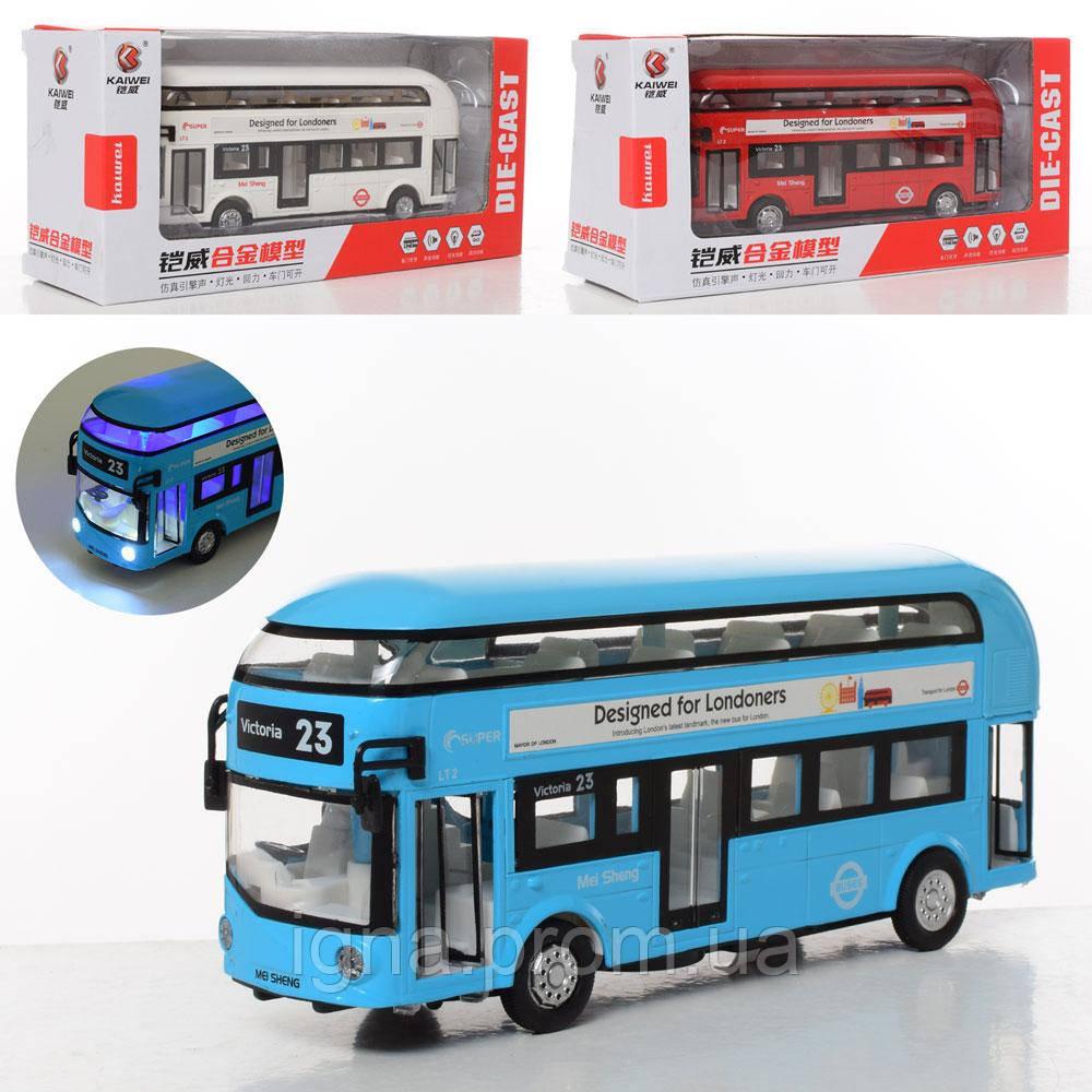 Автобус MS6609N (24шт) металл, инер-й, 18см, зв,св,открыв.дв,3цв, бат(таб),в кор,25-7,5-7,5см