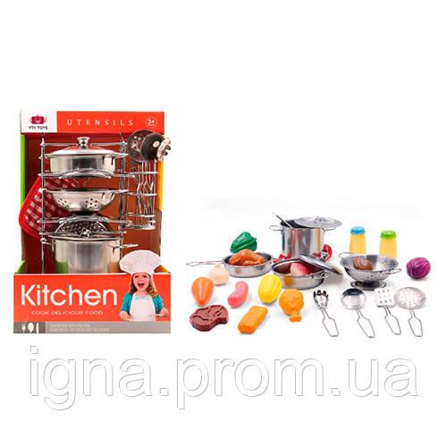 Посуда 555-BX013 (24шт) кастрюли,кухонный набор,подставка,прихватка, металл,27пр,в кор-ке,20-30-20см