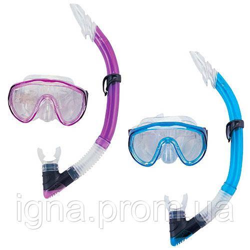 BW Набор для плавания 24004 (6шт) маска,трубка,регулир.ремешок,2цв,в слюде,
