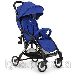 Коляска детская ME 1058 WISH Indigo (1шт) прогулочная,книжка,колеса 4шт, чехол, лен, син