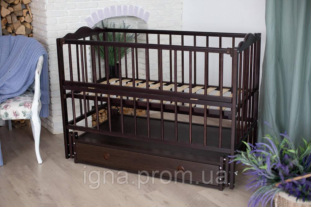 """Ліжечко дитяче """"Ангеліна"""" тм""""Кузя"""" шарнір-підшибн.з відкидною боков+шухляда, бук (Венге)"""