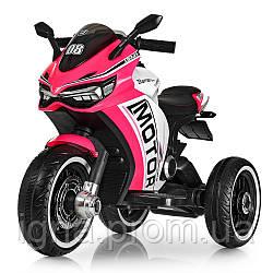Мотоцикл M 4053L-8 (1шт) мотор2мотора25W,  2аккум6V4,5AH, MP3, USB, свет, кожа, розовый