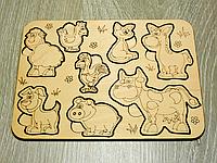 Деревянные пазлы для детей от 1 года «Домашние животные» (2104)