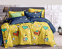 Комплект постельного белья Цветные Сердечки сатин (Полуторный)