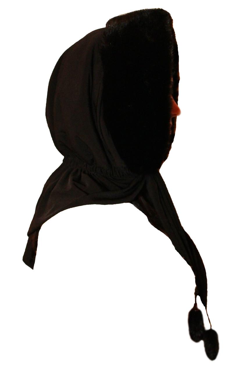 Жіночий хутряний норковий капор (чорний) (Косинка/Хустку/Капюшон)