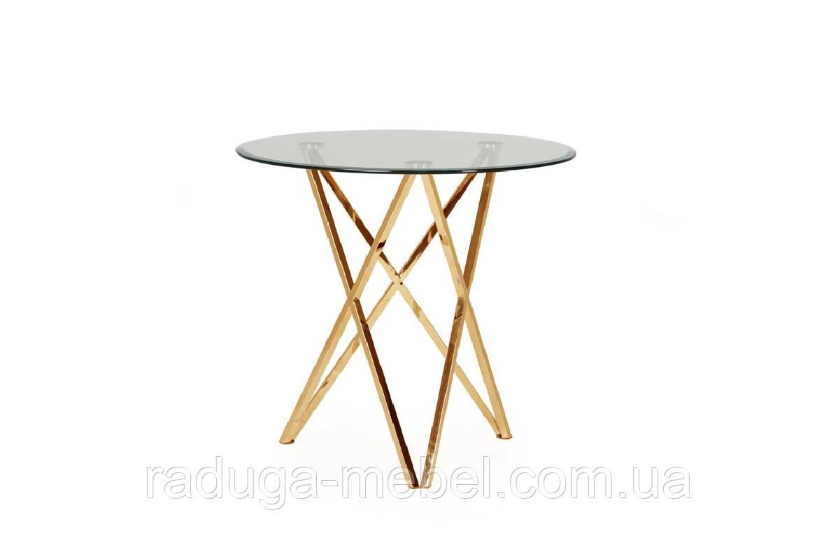 Обеденный стол Т-313 прозрачный + золото