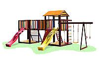 Детский деревянный уличный Комплекс-площадка из сосны: домик с мостиком, песочница, качели 780х460х310см 61538, фото 1