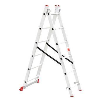 Лестница алюминиевая 2-х секционная универсальная раскладная INTERTOOL LT-0206