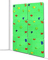 Детский скалодром для дома и спортзала с 40 зацепами из штучного камня, до 100кг, зеленый 150х2.1х225 см 61573
