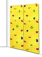 Детский скалодром для дома и спортзала с 40 зацепами из штучного камня, до 100кг, желтый 150х2.1х225 см 61574