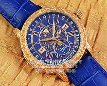Мужские наручные часы Patek Philippe Sky Moon Tourbillon 6002G-001 Gold Blue реплика Кварц Кварцевые