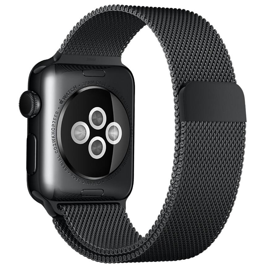 Ремінець BeWatch для Apple Watch міланська петля 38 мм / 40 мм Чорний (1050201)