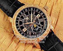 Мужские наручные часы Patek Philippe Sky Moon Tourbillon 6002G-001 Gold Black реплика Кварц Кварцевые