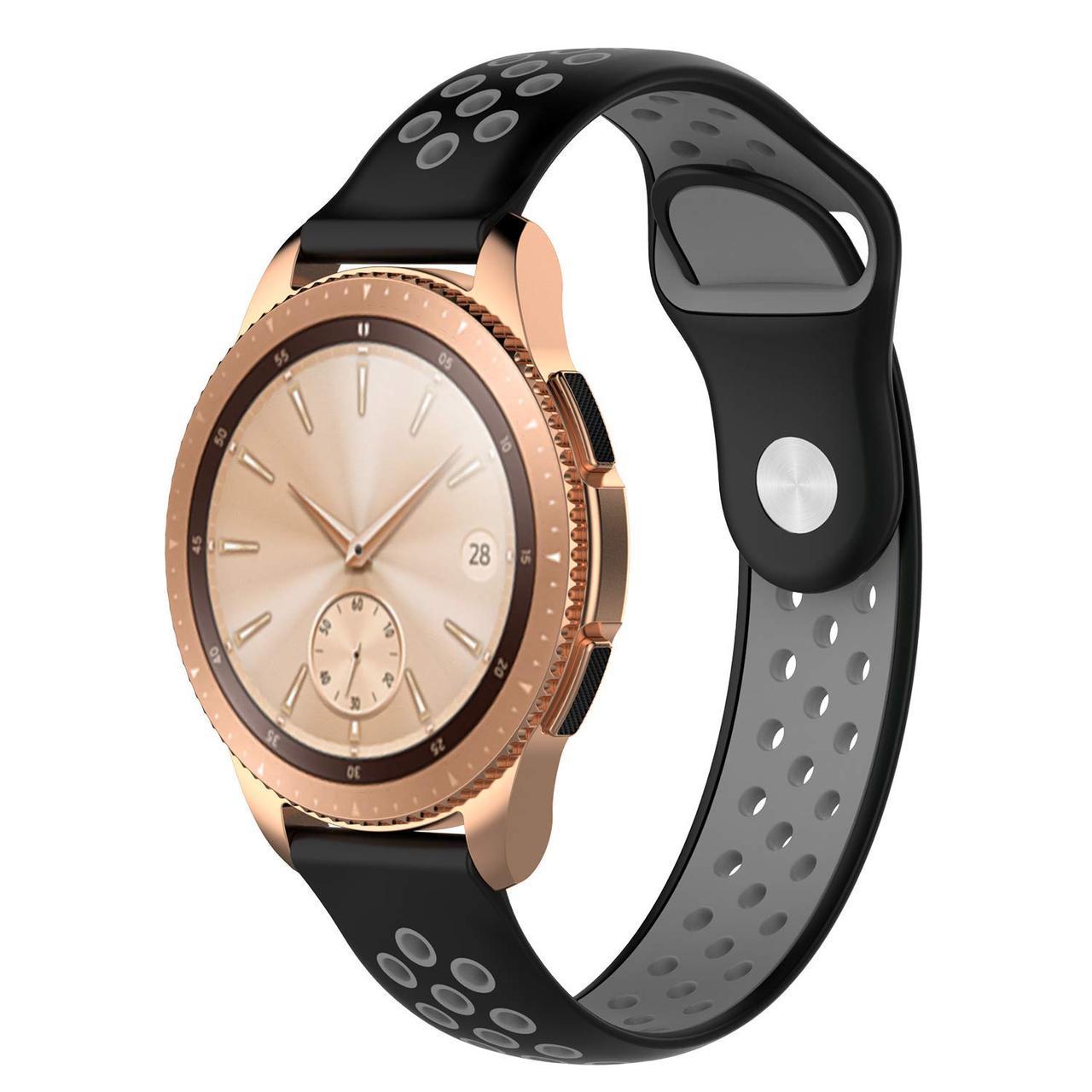 Ремінець BeWatch для смарт-годин Samsung Galaxy Watch 42 мм Black/Gray (1010114.2)