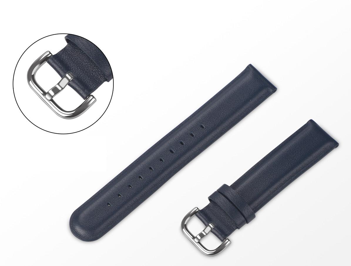 Ремешок BeWatch кожаный 20мм для Amazfit BIP | Bip Lite | GTS | Gtr 42mm Синий L (1210189.1L)