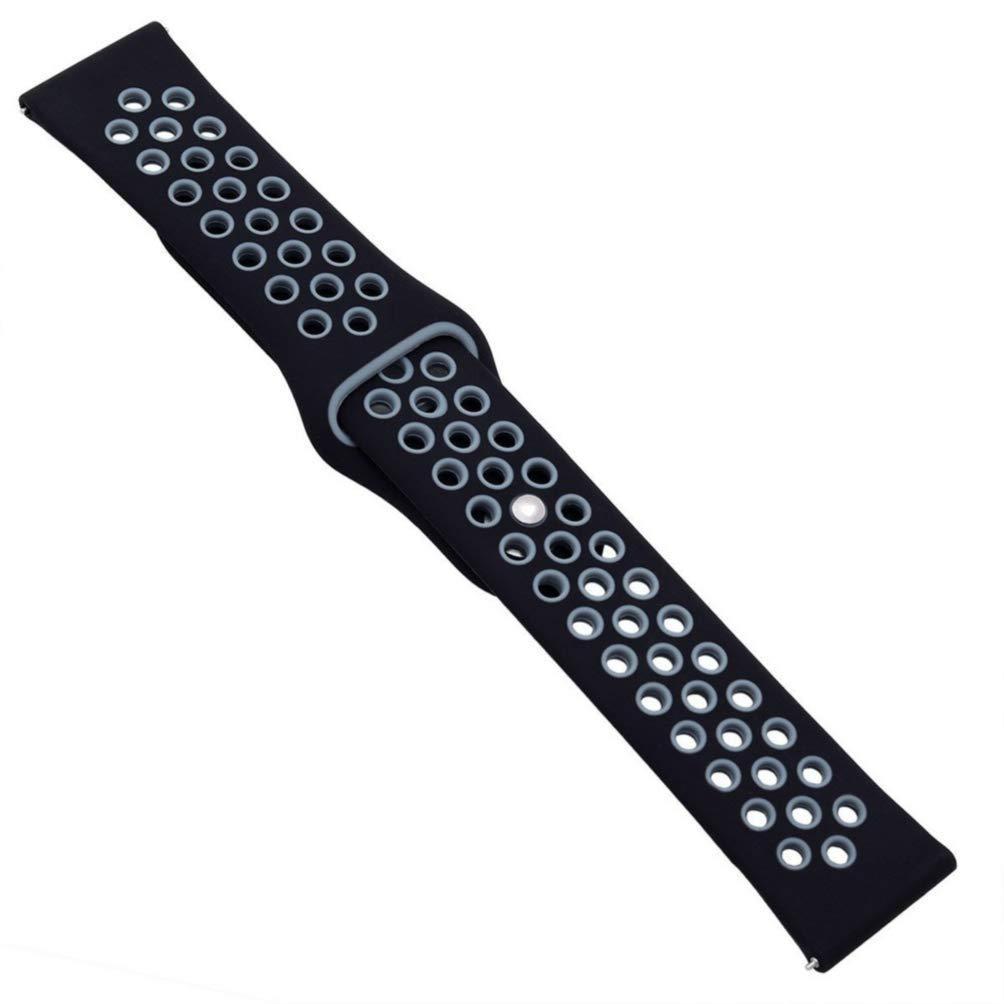 Ремешок силиконовый 20мм BeWatch универсальный с быстросъёмным креплением Черно-серый (1010114)