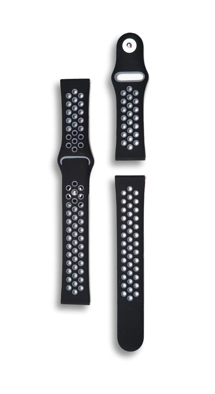 Ремінець 22мм BeWatch силіконовий універсальний Чорно-сірий (10201142)