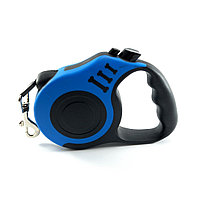 Поводок-рулетка для собак до 15 кг 5 метров лента синий