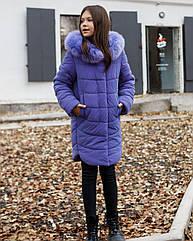 Зимний пуховик для девочки София из рефлективной плащевки тм Mangelo размеры 122-158