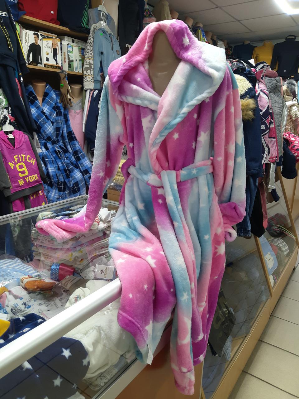 Подростковый махровый халат для девочки р. 146 - 170
