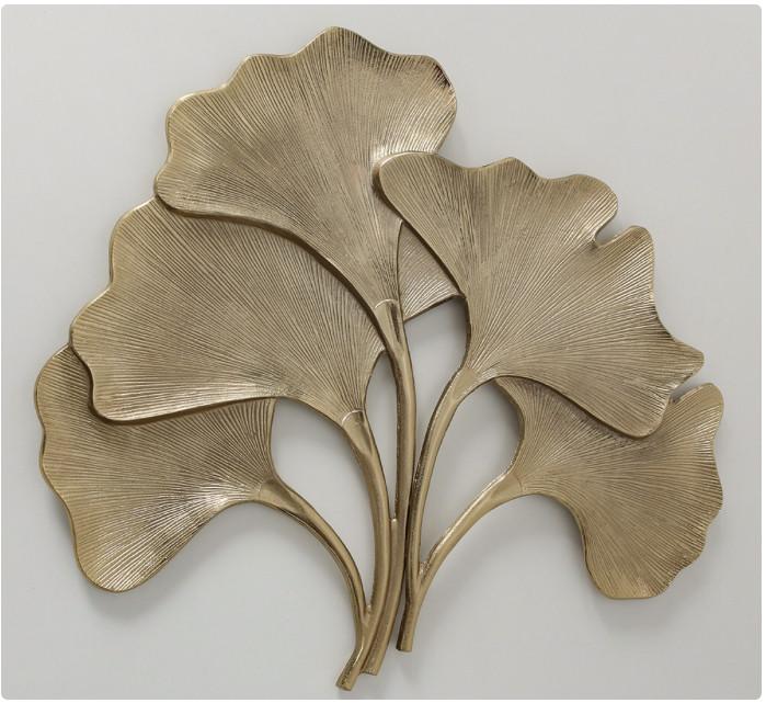 Настенный декор Листья Гинкго W3 см, L74 см алюминий золото